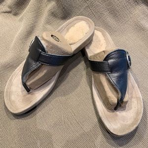 Brand new Pewter colored leather UGG flip-flops